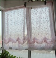 Romantic Victorian Embroidery Vine Pink Sheer Voile Pull-up Cafe Curta